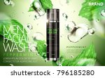 peppermint face wash for men... | Shutterstock .eps vector #796185280