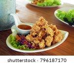 a heart shape plate of... | Shutterstock . vector #796187170