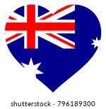 australia flag in heart vector... | Shutterstock .eps vector #796189300