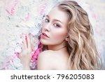 beautiful romantic young woman... | Shutterstock . vector #796205083