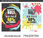 big sale poster on holi... | Shutterstock .eps vector #796205704