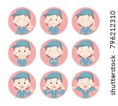 emoji icon set   factory worker | Shutterstock .eps vector #796212310