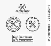 coffee shop logo design bundle | Shutterstock .eps vector #796215349