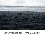 the black sand beach of... | Shutterstock . vector #796223764
