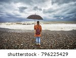 woman with umbrella and... | Shutterstock . vector #796225429
