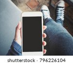 woman using smart phone on hand ...   Shutterstock . vector #796226104