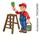 painter vector character  with... | Shutterstock .eps vector #796226980