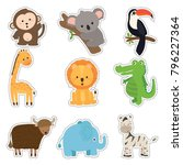 set of cute sticker with animal ... | Shutterstock .eps vector #796227364