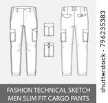 fashion technical sketch men... | Shutterstock .eps vector #796235383
