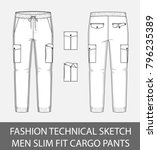 fashion technical sketch men... | Shutterstock .eps vector #796235389