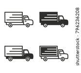 truck vector icons set. black... | Shutterstock .eps vector #796236208