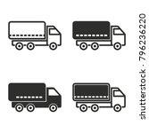 truck vector icons set. black... | Shutterstock .eps vector #796236220