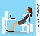 tired caucasian businesswoman... | Shutterstock .eps vector #796240000