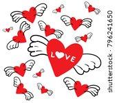 cartoon characters red hearts... | Shutterstock .eps vector #796241650