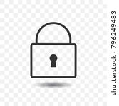 pad lock icon with shadow on... | Shutterstock .eps vector #796249483