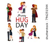 happy hug day background with...   Shutterstock .eps vector #796251544
