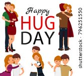 happy hug day background with...   Shutterstock .eps vector #796251550