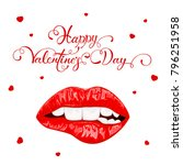 text happy valentines day with... | Shutterstock .eps vector #796251958