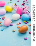 colorful decorative eggs on... | Shutterstock . vector #796254739