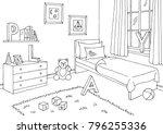 children room graphic black... | Shutterstock .eps vector #796255336