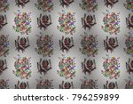 flowers on neutral  black and... | Shutterstock . vector #796259899