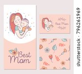 greeting card mother's day. the ... | Shutterstock .eps vector #796261969