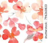 Stock photo watercolor pattern of cherry blossoms 796263823