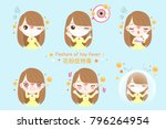 girl with pollen allergy and... | Shutterstock .eps vector #796264954