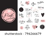 set of black  white and pink... | Shutterstock .eps vector #796266679