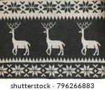 knitted deer pattern gray white ... | Shutterstock . vector #796266883