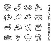 line icon set of fast food....