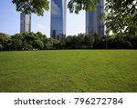 empty green grass with modern... | Shutterstock . vector #796272784