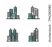 Building vector icon set isolated on white background | Shutterstock vector #796280080