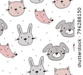 cute seamless pattern with... | Shutterstock .eps vector #796288150