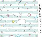 Stock vector seamless pattern with cute little bunny vector illustration 796288573