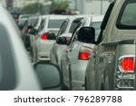 traffic jam in a city street... | Shutterstock . vector #796289788