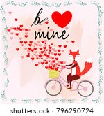 cute be mine fox or dog on... | Shutterstock .eps vector #796290724
