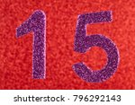 number fifteen purple color... | Shutterstock . vector #796292143