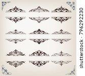 set of vintage frames with... | Shutterstock .eps vector #796292230