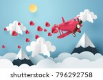paper art of pink air plane... | Shutterstock .eps vector #796292758