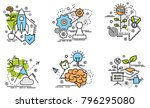 set of outline icons of growth.... | Shutterstock .eps vector #796295080