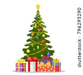 christmas tree and holiday... | Shutterstock . vector #796295290