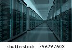 dark server room data center... | Shutterstock . vector #796297603