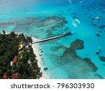 managaha island beach and pier...   Shutterstock . vector #796303930