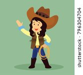 cowgirl with a lasso for rodeo... | Shutterstock .eps vector #796304704