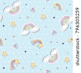 baby seamless pattern with ... | Shutterstock .eps vector #796305259