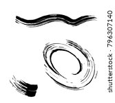 set of black brush strokes.... | Shutterstock .eps vector #796307140