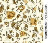 coffee seamless pattern.... | Shutterstock .eps vector #796310284