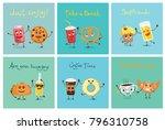 cartoon funny friends fast food ... | Shutterstock .eps vector #796310758