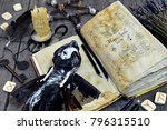 scary doll  old book with black ... | Shutterstock . vector #796315510